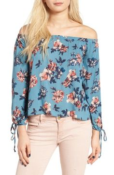 Lush Floral Print Off the Shoulder Blouse available at #Nordstrom