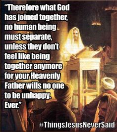 Jesus never advocated divorce. We are supposed to be married for life as marriage is a covenant between husband wife and God. God created marriage so He set up the law as He wanted it. Man decided he must have divorce anyway. Jw Humor, Bible Humor, Christian Kids, Christian Humor, Marriage Relationship, Marriage Advice, Relationships, Church Humor, Catholic Memes