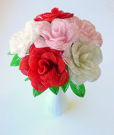 French Beaded Roses in pink, white, or red - made to order seed bead floral stems, one beaded rose, by LaurensCreations on Zibbet Red Rose Wedding, Rose Wedding Bouquet, Roses Valentines Day, Valentine Day Gifts, Valentine Treats, French Beaded Flowers, Faux Flowers, Beaded Ornaments, Beads And Wire