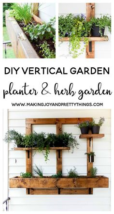 Vertical Gardens Above buffet out back. - Learn how to make a hanging vertical herb garden and planter using lumber! It's perfect for small space gardening, apartments and patios.