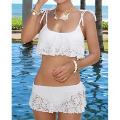 Stylish Halter Lace Embellished Two-Piece Swimsuit For Women, WHITE, M in Swimwear | DressLily.com