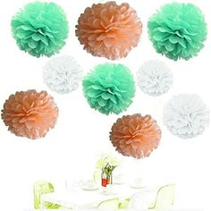 Since ®18Pcs of 8' 10' 14' 3 Colors Mixed White Peach Mint Tissue Paper Flowers,Tissue Paper Pom Poms,Wedding Party Decor,Pom Pom Flowers,Tissue Paper Flowers Kit,Pom Poms Craft,Pom Poms Decoration *** Read more  at the image link.