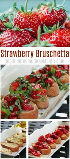Strawberry Recipes, Easy Summer Recipes, Strawberry Bruschetta, Unusual Appetizers Easy Summer Meals, Summer Recipes, Easy Meals, Easy Recipes, Bruschetta Recipe, Elegant Appetizers, Appetizers For Party, How To Cook Polenta, Finger Food