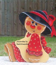 Hand Painted Gingerbread Girl Shelf Sitter by stephskeepsakes