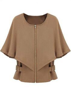 Camel Half Sleeve Zipper Crop Cape Coat