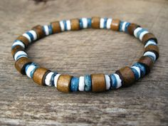 Mens surfer bracelet wood and shell upcycled
