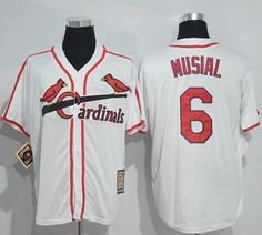 Mitchell And Ness Cardinals #6 Stan Musial White Throwback Stitched MLB Jersey