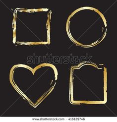 Gold Frames Calligraphy on black Background. Vector