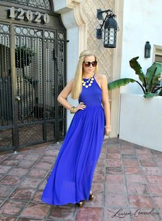 blue maxi + yellow statement necklace