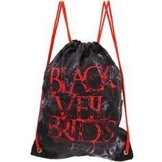 Red, Black, and Gray Black Veil Brides Drawstring Backpack