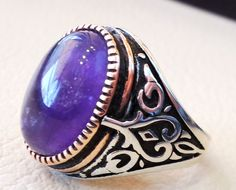 amethyst agate natural stone sterling silver by AbuMariamJewels