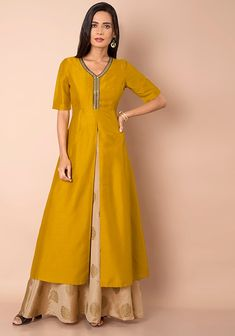 78fad4e633f Mustard Front Slit Silk Maxi Tunic  Fashion  Indya  Traditional  Clothing   Trending
