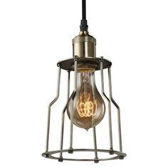1 Light (Medium Screw Base) Antique Pewter Pendant Light Fixture with Cage Ceiling Light Fixtures, Pendant Light Fixtures, Pendant Lighting, Pendant Lamp, Lighting Sale, Antique Light Bulbs, Antique Lighting, Industrial Lighting, Cage Pendant Light