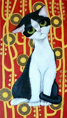 Inspired by Gig's big-eyed cats, Klimt's black & white kittyKlimt's Cat | Sara Field