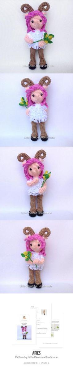 Aries amigurumi pattern by Little Bamboo Handmade Yarn Dolls, Knitted Dolls, Crochet Dolls, Crochet Yarn, Amigurumi Doll, Amigurumi Patterns, Knitting Patterns, Crochet Patterns, Diy Crochet Cardigan