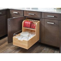 Food Storage Pull Out Drawer restore some sanity with this unique storage solution. The food storage container is made with a sturdy dovetail construction, stylish chrome accent rails and blur motion soft-close slides. Take back your cabinet space,