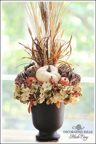 autumn flower arrangement, seasonal holiday decor, I love the black urn I found at Target