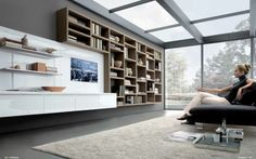 MisuraEmme Futuristic Furnitures for Modern Living Room Designs Grey Modern Living Room with Glassed Roof and Book Shelves TV Cabinet by MisuraEmme – Home Designs and Pictures
