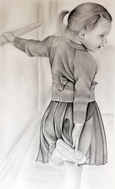 Portrait of my daughter (nearly 4 years old) wearing her new ballet uniform. Faber-Castell pencil on (nearly) Bristol Smooth. The background is from imagination as she was actually stood in our hallway with her hand on the radiator! Pencil Art Drawings, Drawing Sketches, Graphite Art, Children Sketch, Black Artwork, Ballet, Drawing Reference Poses, Dance Art, Adult Coloring Pages