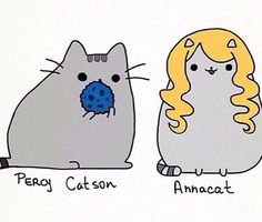 Pusheen Percy and Annabeth!