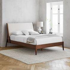 Mid Century Bed, Mid Century Modern Bed, Modern Bed Linen, Modern Beds, Modern Wood Bed, Modern Bedroom, West Elm Bedding, Bedding Sets, Oversized Furniture