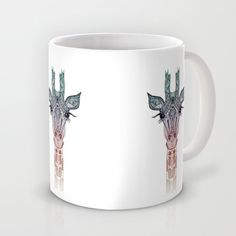 GiRAFFE Mug by Monika Strigel - $16.00 #giraffe #mug #coffee #white #cute #gift