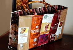 Starbucks purse, love the bright shiny colors & love the idea of using a fun pattern for the inside plus the wooden handles, just very genius!