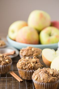 Made with whole wheat flour, coconut oil, apple sauce and maple syrup these Healthy Apple Muffins will be your new favorite fall snack. Honeycrisp Apples, Spiced Apples, Caramel Apples, Muffin Recipes, Apple Recipes, Snack Recipes, Spicy Candy, Fall Snacks, Kid Snacks