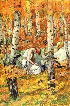The poems inspired by old Czech myths and illustrated by Artuš Scheiner
