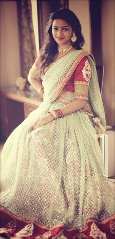 Bridal Half Sarees - Light Pista Green And Red Half Saree