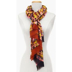 Talbots Women's Bold Herringbone Plaid Scarf ($40) ❤ liked on Polyvore featuring accessories, scarves, begonia multi, long scarves, wrap shawl, woven scarves, oblong scarves and tartan shawl