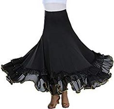 ZLTdream Waltz Dancing and Ballroom Dance Long Swing Party Skirt Black On. Waltz Dance, Tassel Skirt, Latin Dance Shoes, Flower Skirt, Ballroom Dance Dresses, Party Skirt, Types Of Fashion Styles, Tango, Dancing