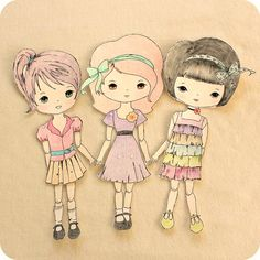 Gingermelon Dolls: Free Paper Doll Download and the Mini Moppets  Could use for pattern reference