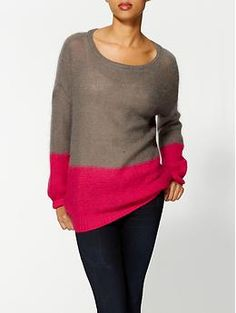 Taupe and hot pink  213 Industry Colorblock Sweater   Piperlime