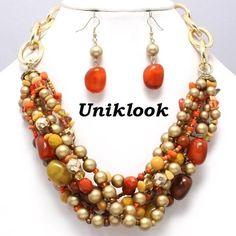 Bold Orange Autumn Gold Twist Row Chunky Elegant Necklace Costume Jewelry Set | eBay