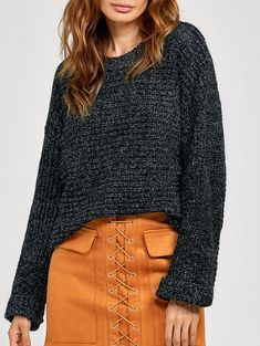 Crimping Cuff Knitted Sweater