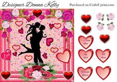 Hearts and roses valentines on Craftsuprint designed by Donna Kelly - A beautiful silhouette of a lovers embrace captures the eye when looking at this card. A flurry of hearts all around and roses adorns the corners. Approx 7x7 Includes decoupage and 5 sentiment tags one blank, sentiments include I love you, My Girl, Forever Yours