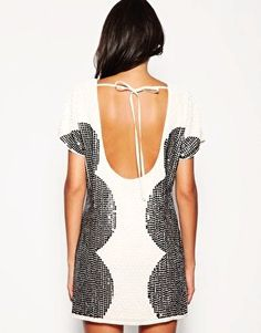 ASOS Oversized White Sequin Low Back Dress