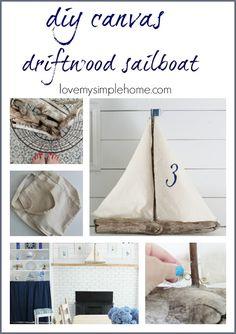 Canvas Driftwood Sailboat