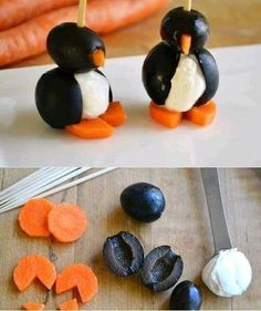 Carrots, olives, and cream cheese make a penguin fun for kids to eat