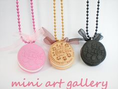 Oreo necklace - pink black dough / cookie biscuit miniature food jewelry / mini food necklace / handmade polymer clay / ball chain. Mini Art Gallery, by ArtSista Fotini