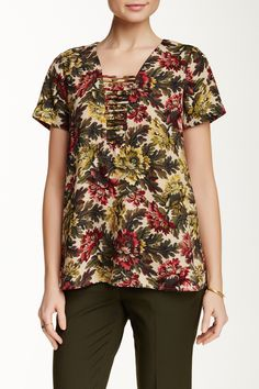 Short Sleeve Hi-Lo Lattice Front Blouse by Pleione on @nordstrom_rack
