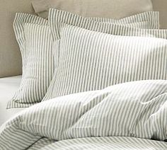 Pottery Barn Vintage Ticking Stripe Duvet Cover & Sham. For Jacob's room, with light grey or light yellow sheets.