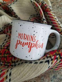 Morning Pumpkin!! Etsy listing at https://www.etsy.com/listing/482781257/morning-pumpkin-coffee-mug-campfire