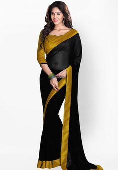 Black Embroidered Saree at $60.61 (24% OFF)
