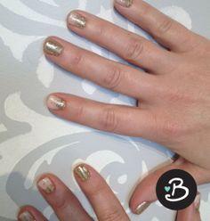 Gel Manicure | Blowdry! Blowdry Bar ORLY Gel FX Gel Manicure in soft baby pink polish with gold glitter #sparklenails