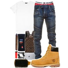 Untitled #108 by crenshaw-m4fia on Polyvore featuring polyvore, Balmain, Timberland, Louis Vuitton, Tommy Hilfiger, men's fashion, menswear and clothing