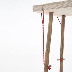 """Stepping aside"" series of furniture assembled and retained by a simple set of strings and pins by Laure Manac'h"
