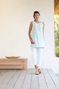 Pure Jill sleeveless linen tunic paired with the linen slim crops