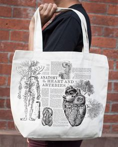Anatomical Heart Vintage Illustration Tote Bag